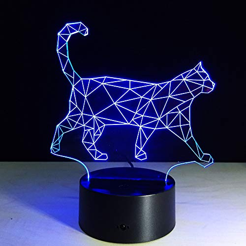 LWJZQT Nachtlampje 3D powerbank USB 3D lamp kat acryl gradient nachtlicht 7 kleuren kid touch switch nachtlicht 3D LED-lamp