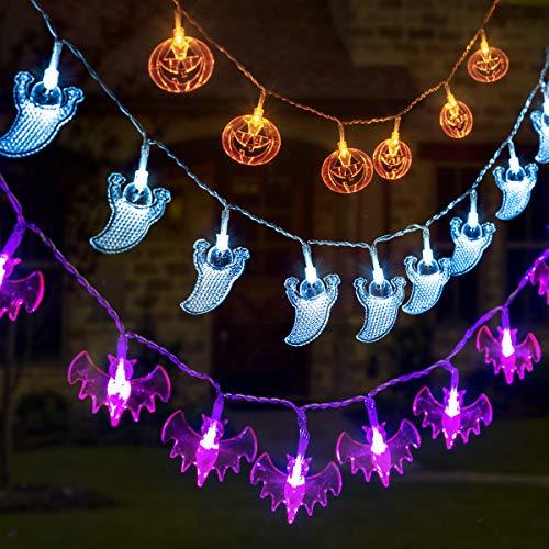 Gigalumi - Set di 3 luci decorative per Halloween, a batteria, 3,7 m, a forma di zucca, pipistrello e fantasma, con 30 LED ciascuna, per interni ed esterni, Halloween e feste