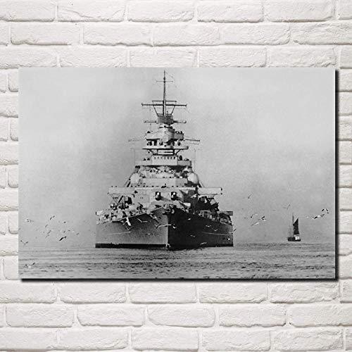 VVSUN Acorazado Militar alemán Retro Barco de Guerra en Blanco y Negro Arte de la Pared Pintura en Lienzo Póster Imagen Sala de Estar Decoración del hogar 50x75cm 20x30 Pulgadas Sin Marco