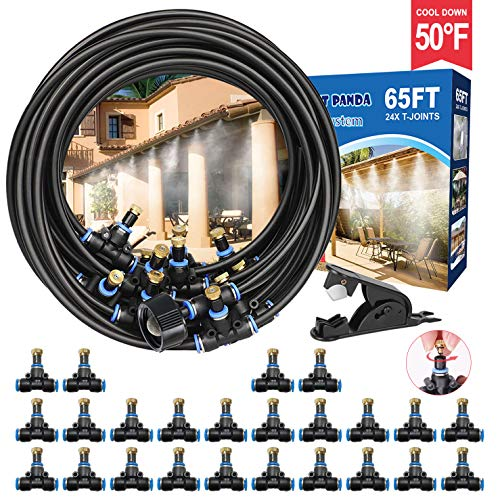 Misting Cooling System 65FT, Outdoor Misting System for Canopy, Cool Mist System by DIY, Patio Misters Hose, Mister Kit for Fan, Water Misters for Garden, Yard,Umbrella,Porch,Backyard,Gazebo,Waterpark
