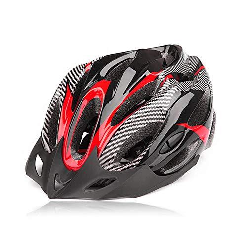 Odea - Casco de seguridad para bicicleta (fibra de carbono, resistente a los golpes, ajustable, para bicicleta de montaña), rojo