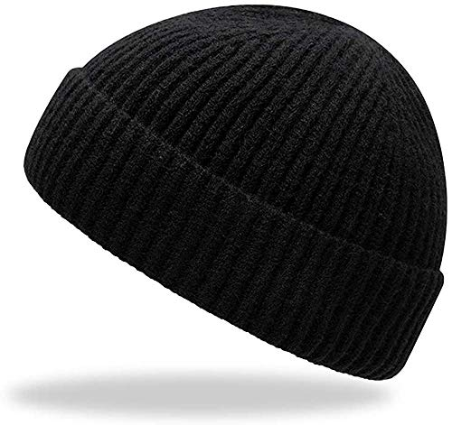 TOPSEM Trawler Beanie Watch Hat Roll up Edge,Winter Warm Knit Beanie Caps,Skullcap Fisherman Watch Beanie Unisex for Men Women,Soft and Durable(Black)