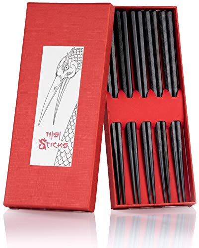 Nisi Sticks Premium Ess-Stäbchen 5er Set   Chopsticks in edlem schwarz   Asiatisches Geschirr für Sushi oder Reis-Gerichte   + Gratis E-Book mit tollen Sushi-Rezepten