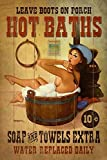 Vintage Hot Baths Country Western Old West Cowgirl Pin Up Girl Sexy Girl Man Cave Metal Tin Sign Home Bar Kitchen Restaurant Wall Deocr Plaque Signs 12x8inch