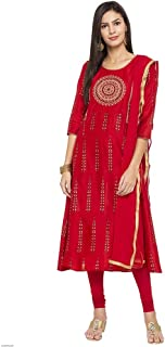 Haute Curry by Shoppers Stop Womens Round Neck Embroidered Churidar Suit_Red