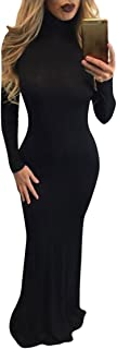 Women's Solid Long Sleeve Gown Elegant Turtleneck Bodycon Long Maxi Dress
