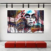 抽象的なアートポスターとキャンバスのHDプリント壁アート絵画リビングルームの装飾のための抽象的なカラフルな魔女の写真-50x80cmフレームなし