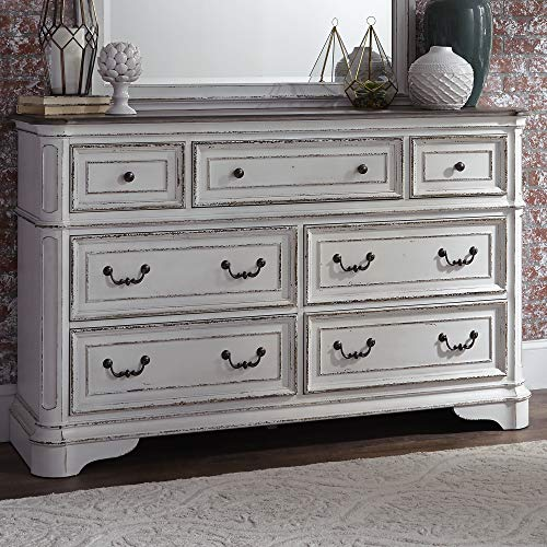 Liberty Furniture Industries Magnolia Manor 7 Drawer Dresser, W64 x D19 x H40, White