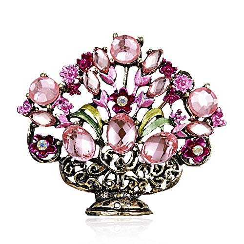 QFERW Brooch Natural Stone Bonsai Brooch ES Women Men Brooch pins Potted Plant Vase Jewelry Gift Parterre Fantastic,Pink