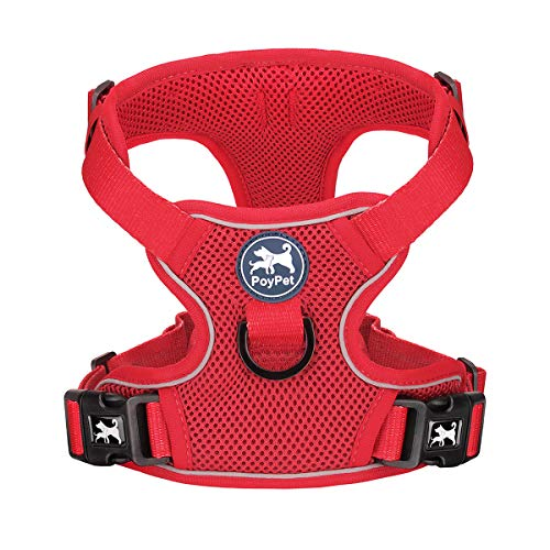 PoyPet Reflective Soft Breathable Mesh Dog Harness Choke-Free Double Padded Vest with Adjustable Neck and Chest(Red,M)