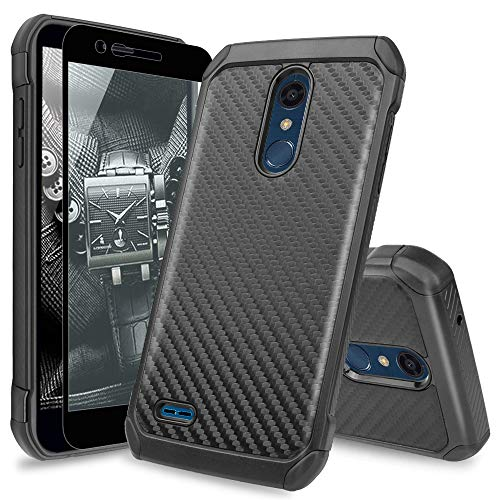 TJS Phone Case for LG K10 2018/K30 2018/Premier Pro LTE/Harmony 2/Phoenix Plus/Xpression Plus, with [Tempered Glass Screen Protector] Hybrid Shock Absorbing Carbon Fiber Back TPU Inner Layer (Black)