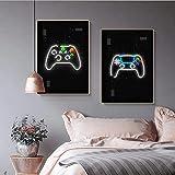 Modernos carteles de sala de videojuegos e impresión de gamepad decoración lienzo pintura juego cuadro de arte de pared para habitación de niños decoración del hogar | 40x60cmx2 sin marco