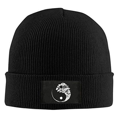 Mens and Womens 100% Polyester Knitted Hat, Daily Yin Yang Bonsai Tree Skull Cap Black