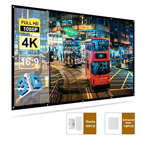 Docooler H150 150 '' Tragbar Projektor Bildschirm HD 16: 9 Wei? 150 Zoll Diagonale Projektion Bildschirm Faltbares Heimkino f¨¹r Wand-Projektion zuhause drau?en