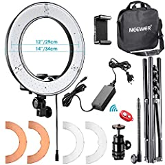 "PLEASE NOTE: 1.The Neewer RL-12 LED Ring Light measures 14"" from the outside edge to outside edge of the light; the led panel measures 12"" on center; 2.The light stand is packed in a separate box INSIDE the big package box(under the ring light box, a..."