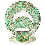 SZJY Juego de Vajilla de Porcelana de Hueso de 5 Piezas Taza de café Plato de Filete Occidental Plato de Postre Hotel/Fiesta de Cumpleaños/Restaurante