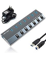 Wavlink セルフパワー USB3.0ハブバスパワー 4ポート独立スイッチ付き 12V 4A 電源付属 USB高速充電ポート+データ転送タブレットラップトップ、携帯やiPad,MacBook Air、MacBook Pro、Mac mini、iMac、MacPro、Windowsラップトップおよび他のUSB 3.0対応デバイス(80cm延長ケーブル)メーカー直営(4ポート)