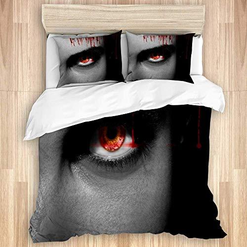 Juego de funda nórdica de 3 piezas, vampiro alienígena negro malvado o ojos de zombi en primer plano, juego de fundas de edredón de microfibra de lujo para dormitorio, colcha con cremallera con 2 fund