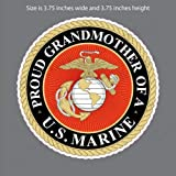 Edward & Co Sticker Proud Grandmother of a Marine Corp USMC Decal United States Army Military for Car Truck Window Laptop Bumper US Flag 3,75 in