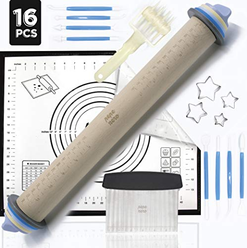 Rolling Pin - Adjustable Rolling Pin - Silicone Baking Mats For Sugar Cookies - Pastry Mat - Pastry Cutter- Pasta Roller - Dough Roller - Pizza Roller - Baking Supplies - Fondant Tools - Dough Cutter