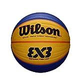 Wilson, Pallone da basket, FIBA 3x3 Replica, Misura 6, Blu/Giallo, Gomma, Uso all'interno ...