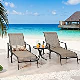 Sports Festival 3 Pcs Chaise Lounge Set of 2 Patio Chairs with...