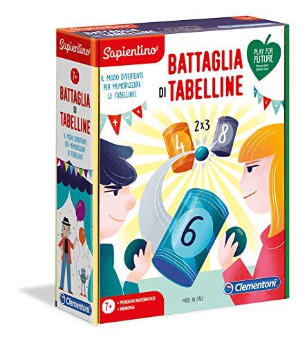 Clementoni Sapientino La Battaglia delle Tabelline, gioco educativo 7 anni, gioco per imparare le tabelline, Made in Italy, Play For Future, materiale 100% riciclato, 16245