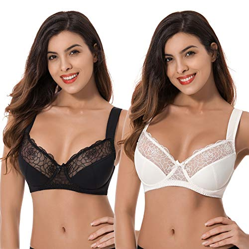 Curve Muse Womens Plus Size Minimizer Underwire Bra with Lace Embroidery-2 Pack- Black,Butter Milk-46DDDD