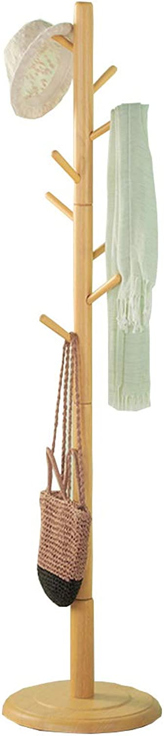 Standing Coat and Hat Rack Clothes Scarves and Hats Hooks Solid Wood Home Office Bedroom (8 Hooks)(178cmX40cm) Natural Colour