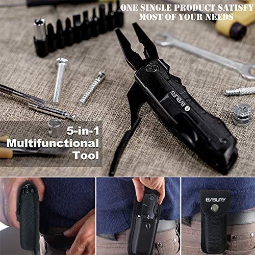 マルチツール5-IN-1多機能ナイフ折りたたみペンチ多機能ツールステンレスマルチツール多目的プライヤーキャンプナイロンバッグDIYイベントアウトドアサバイバル釣りハンティングハイキングや他のポケットツール(5IN1)