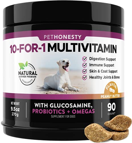 PetHonesty 10 in 1 Dog Multivitamin with Glucosamine - Essential Dog Vitamins with Glucosamine...