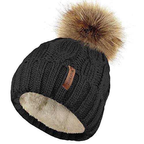 TOSKATOK® Mesdames trapu Douce câble Bonnet en Tricot avec Confortable Doublure Polaire Amovible en Fausse Fourrure et Pompon-Black
