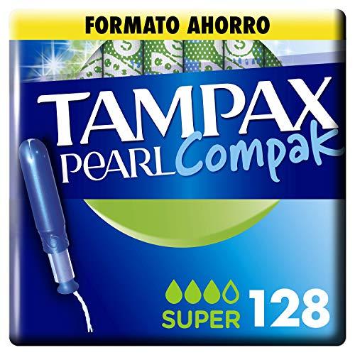 Tampax Pearl Compak Super, Tampón con aplicador, ofrece comodidad, protección y discreción, 128 unidades
