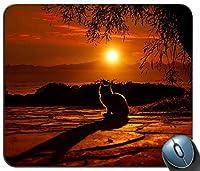 猫日没シルエット14849マウスパッドマットマウスパッドホットギフト