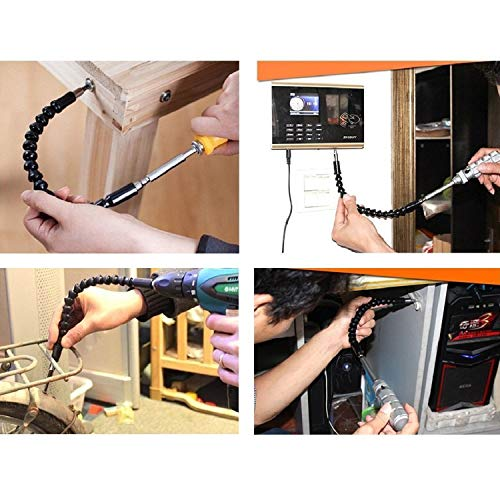 Flexible Extension Screwdriver Bit Holder Magnetic Extention Hex Shaft Screw Power Drill Connection Tip 11.8 inch Flex Adapter W/ Extend Drive Quick Change Connect Adaptor Size Hexagon 1/4''