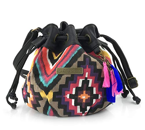 Hoxis Totem Bohemian Patterned Canvas Drawstring Mini Bucket Shoulder Bag Satchel (Square)