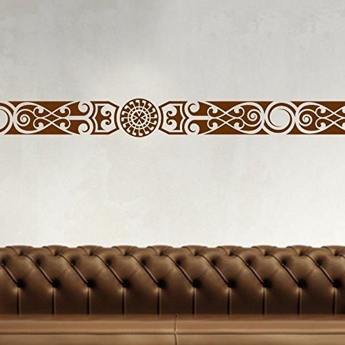 malango Afrikanische Bordüre Wandtattoo Aufkleber Wandaufkleber Dekoration Schlafzimmer Wohnzimmer Styling Design 18 x 131 cm braun
