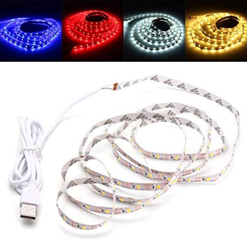 Que cambia de color Barra de luz LED Tira de luz LED USB PC TV Antecedentes de luz de fondo for la decoración 2 M SMD2835 DC 5V, decoración (Color : White)
