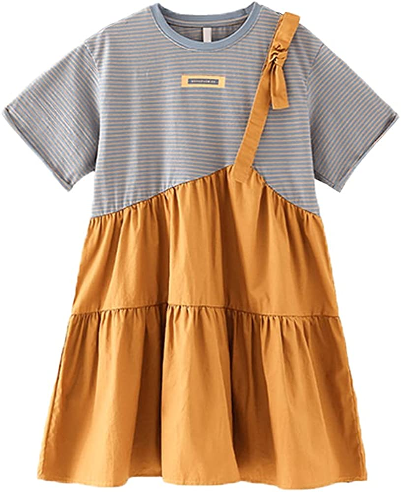 Girl's Summer Korean Fashion Short Sleeve Dress Casual Stripe Patchwork Princess Pleated Dress for 5-12 Years