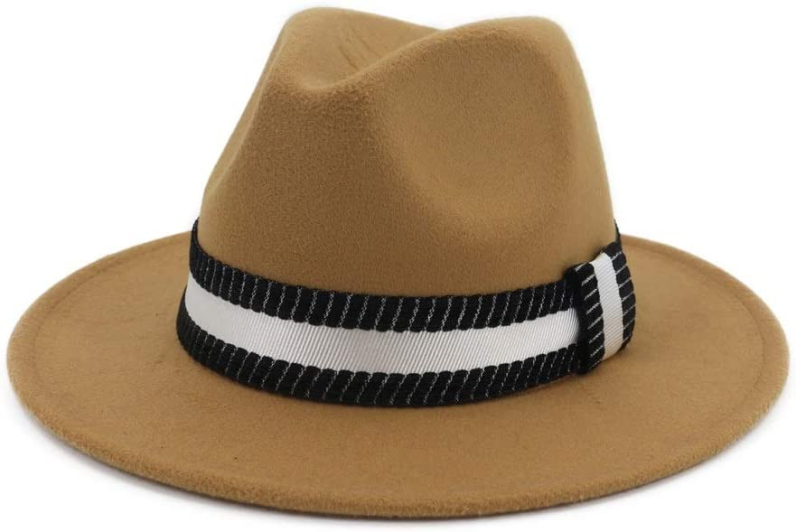 HHHCM-US Men Women Fedora Hat with Omaha Mall Black Belt Jazz Ranking TOP6 Panama White