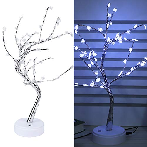 Zhat Lámpara de árbol, 60 LED DIY Fantástico USB Bendable Hermoso árbol Luz de Noche Elegante Bien diseñado para Exteriores para Regalo para el hogar para decoración
