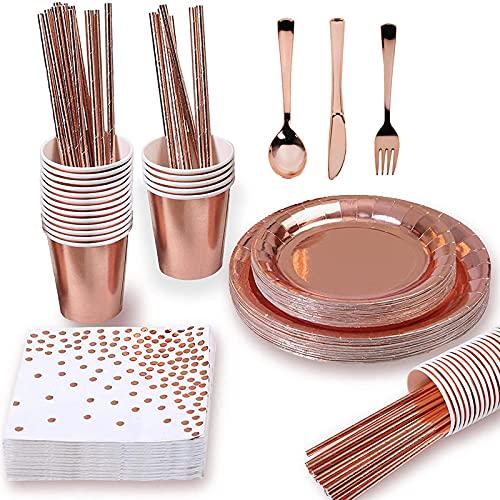GODPAJ 93 platos de papel para tazas de papel de oro rosa, vajilla desechable de cumpleaños, se puede utilizar por 8 personas, disfraz de calidad superior, artículos de fiesta