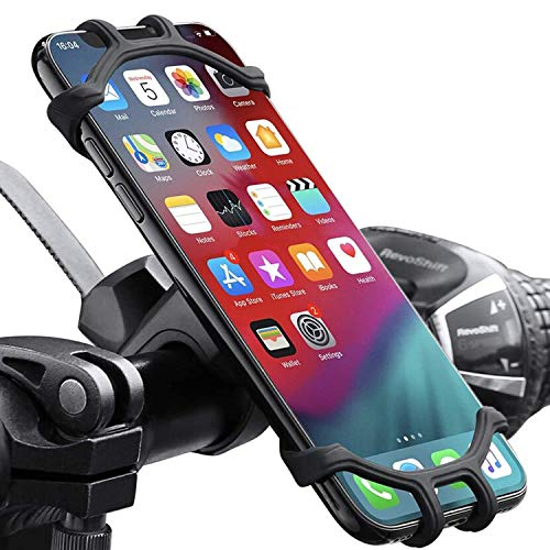 """HUOTO Bike Phone Mount,360°Rotation Silicone Bicycle Phone Holder,Comfortable Silicone Bicycle Handlebars 4.0""""- 6.5"""" Fits for iPhone 11/11 Pro Max/XR/XS Max/8/7/ 6/6s Plus, Galaxy S20/S9 (Black)"""