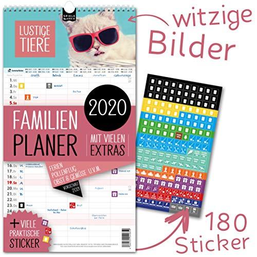 Familienplaner 2020 – LUSTIGE TIERE   5 Spalten   Wandkalender: 23x43cm   Familienkalender Extras: 180 Sticker, Ferien 2020/21, Pollen-, Obst- & Gemüse-, Jahreskalender, Vorschau bis März 2021
