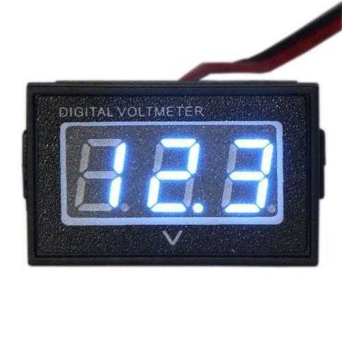 "Waterproof Monitor DC 4.5-150V 12/24/36/48V Volt Battery Meter Voltage Tester Automative Electric Cars Gauge Golf Cart E-Bike Bicycle Motorcycle Small Digital Voltmeter 0.56""LED Blue"