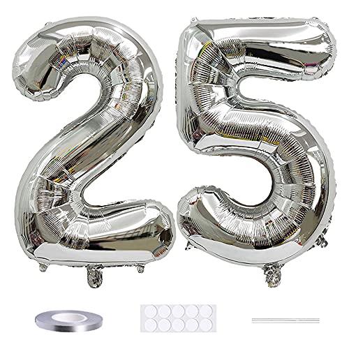 Xihuimay Globos numéricos 25 globos de helio de 101,6 cm, globos digitales de alfabeto 25 globos de helio grandes para fiestas de cumpleaños bodas despedida de soltera, número 25 plata