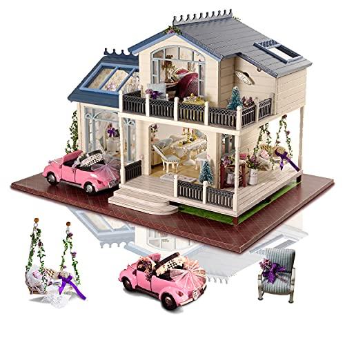 Cuteefun DIY Puppenhaus Miniatur Haus mit Musik und Möbeln Selber Bauen, Bastelset Erwachsene, Handgemachtes Geburtstagsgeschenk für Frauen, Provence