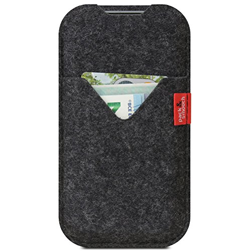 Pack & Smooch Shetland Mobile Case with Wallet - Compatible with iPhone 11 Pro/XS - Made with Anti Static Merino Wool Felt Fabric (Dark Grey)