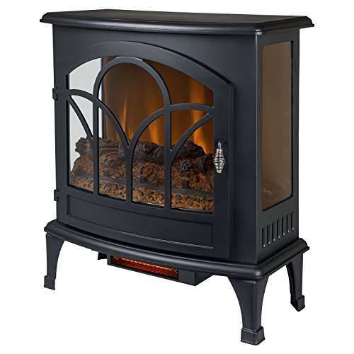 "Muskoka Curved Front 25"" Infrared Panoramic Electric Stove - Black,"