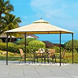 YOLENY 10x12 FT Canopy Gazebo Outdoor Gazebo Steel Frame with Vented Soft Top for Backyard,Patio,Party,Event,Beige